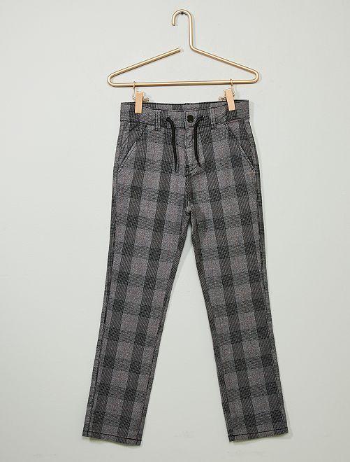 Pantalon chino slim                                                     gris carreaux