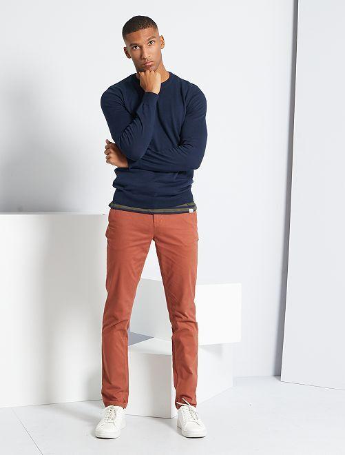Pantalon chino slim                                                                                                                                                                                                                                                                                                                             marron rosé