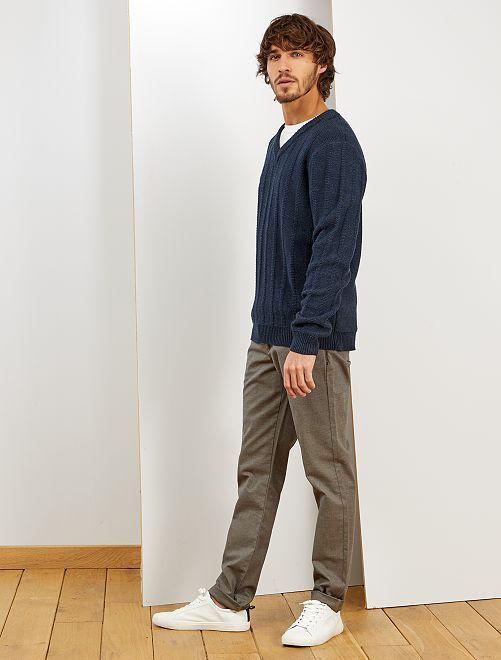 Pantalon chino slim oxford                             gris beige