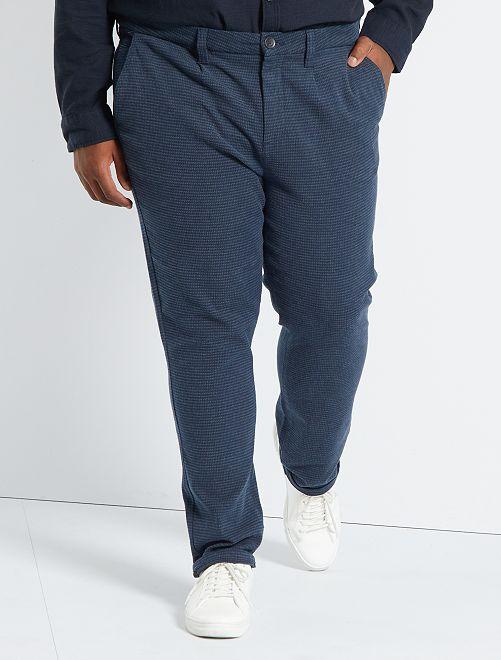 Pantalon chino slim pied-de-poule                             bleu marine