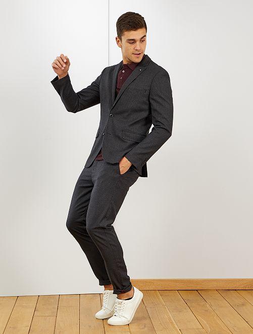 Pantalon chino slim 'pied de puce'                             gris foncé