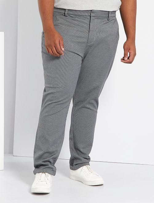 Pantalon chino slim pied-de-puce                             gris