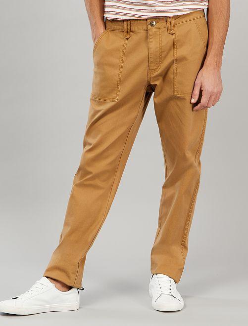 Pantalon chino slim poches plaquées                             beige
