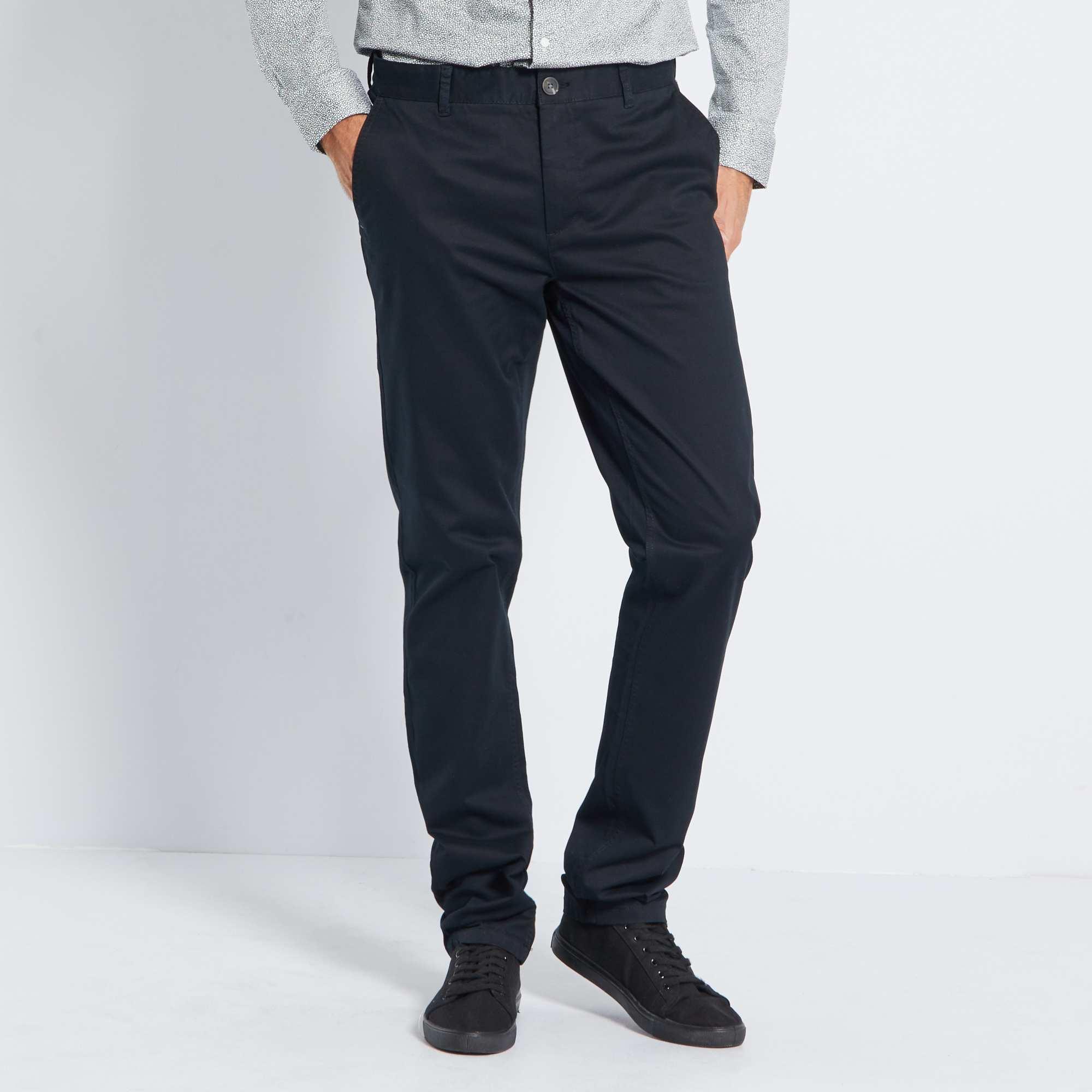 pantalon chino slim pur coton l36 1m90 homme noir. Black Bedroom Furniture Sets. Home Design Ideas