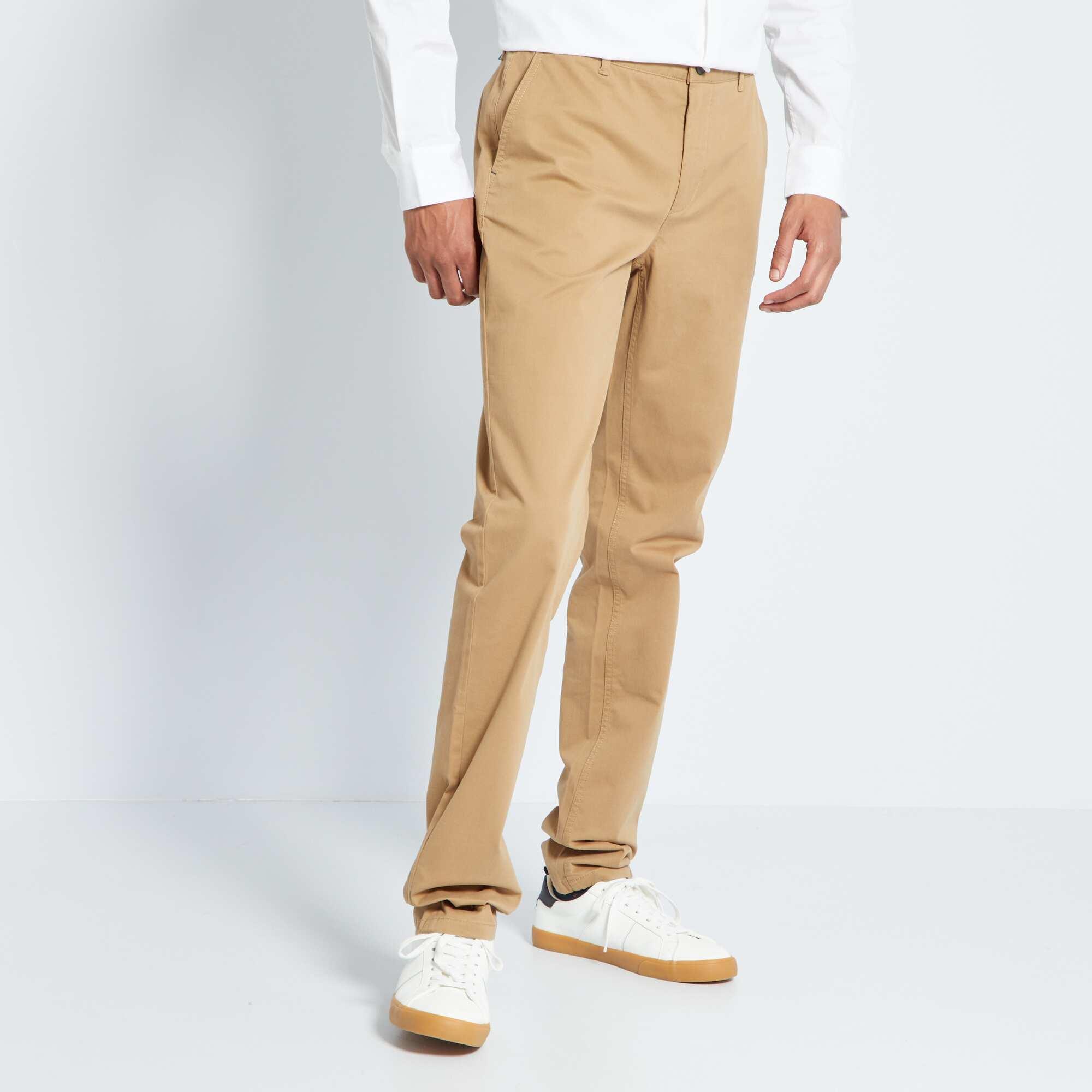 pantalon chino slim pur coton l38 1m90 homme beige kiabi 22 00. Black Bedroom Furniture Sets. Home Design Ideas
