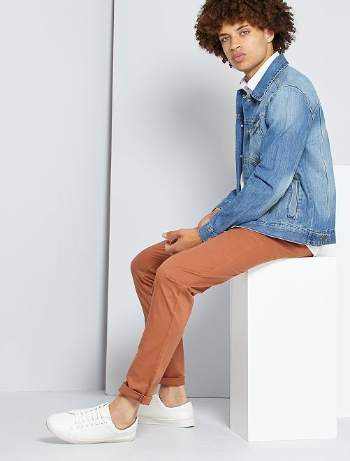Pantalon chino slim                                                                                                                                                                                                                                                                                                                                                                                                     rouge brique