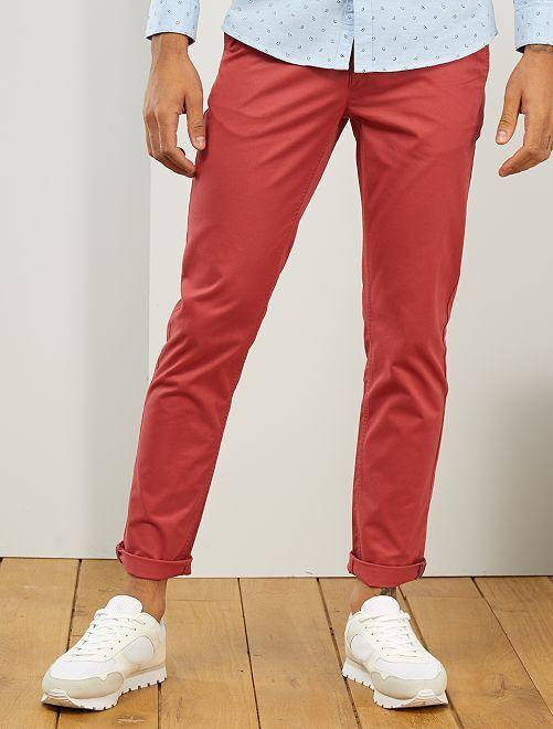 Pantalon chino slim                                                                                                                                                                                                                                                                                                                                                                                         rouge grenat