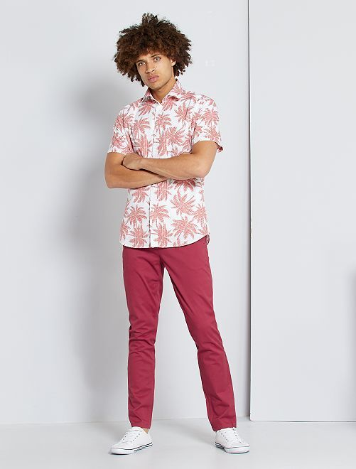 Pantalon chino slim                                                                                                                                                                                                                                                                                                                                                                                                     rouge grenat