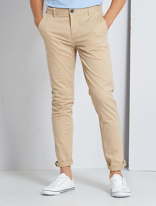 Pantalon chino slim                                                                                                                                                                                                                                                                                                                                                                                                                                                                             sable
