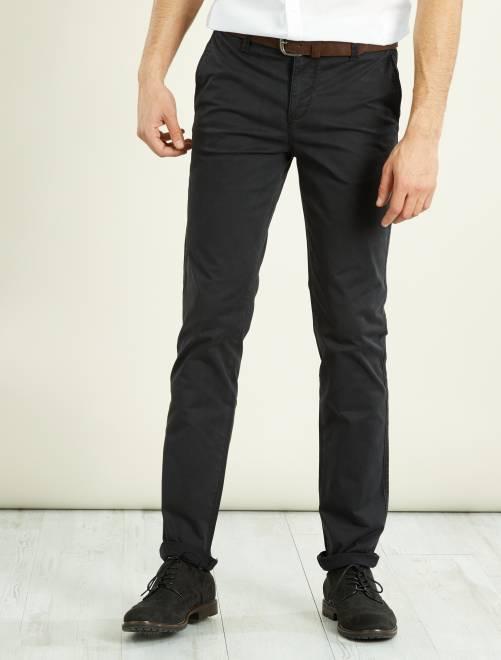 pantalon chino slim stretch longueur us 32 homme noir kiabi 17 00. Black Bedroom Furniture Sets. Home Design Ideas