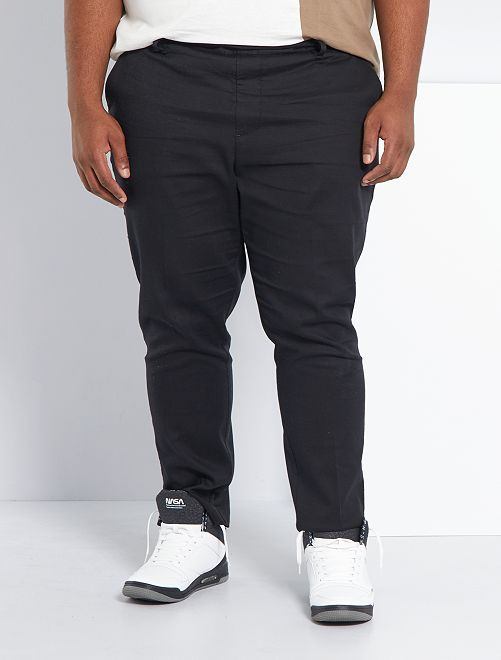 Pantalon chino slim taille élastiquée                             noir