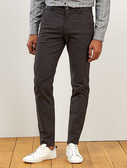 Pantalon chino slim texturé                             gris