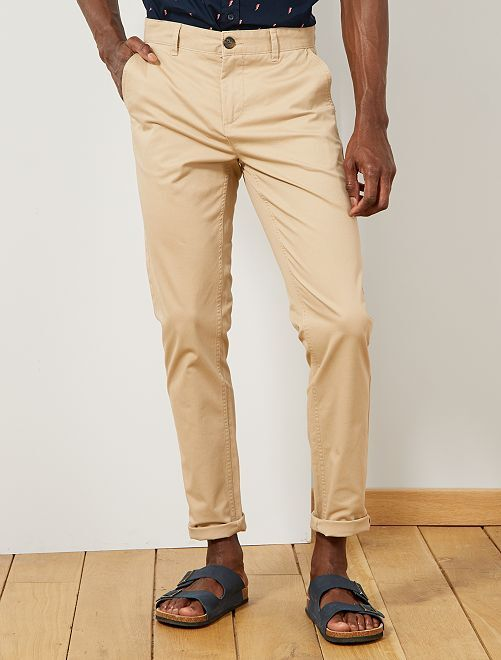 Pantalon chino slim twill stretch                                                                                                                                                                                                                                                                                                                                                                                                                 beige clair