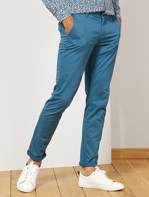 Pantalon chino slim twill stretch                                                                                                                                                                                                                                                                                                                                                                                                                 bleu canard
