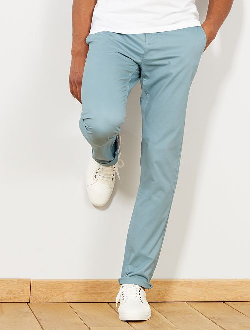 Pantalon chino slim twill stretch                                                                                                                                                                                                                                                     bleu gris Homme