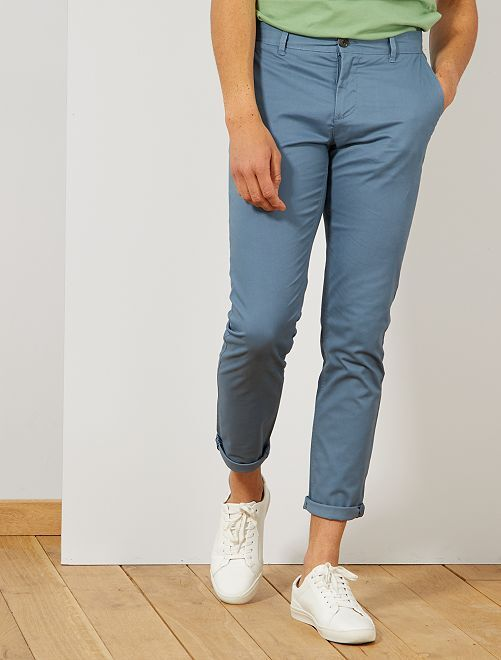Pantalon chino slim twill stretch                                                                                                                                                                                                                                                                                                                                                                             bleu gris Homme