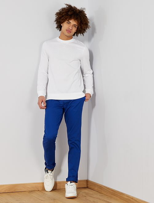 Pantalon chino slim twill stretch                                                                                                                                                                                                     bleu Homme
