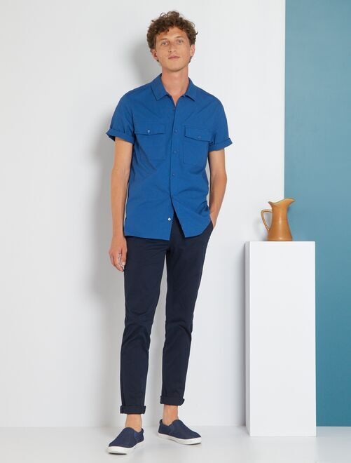 Pantalon chino slim twill stretch                                                                                                                                                                                                                                                                                                                                                                                         bleu marine Homme
