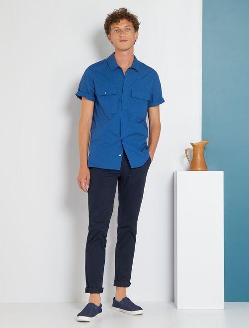 pantalon chino slim twill stretch homme bleu marine kiabi 15 00. Black Bedroom Furniture Sets. Home Design Ideas