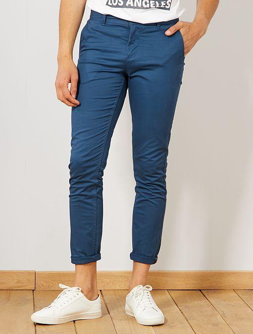 Pantalon chino slim twill stretch                                                                                                                                                                                                                                                                                                                                                                                                     bleu pétrole Homme