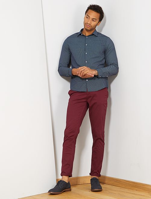 Pantalon chino slim twill stretch                                                                                                                                                                                                                                                                                                                                                                                                                                         bordeaux