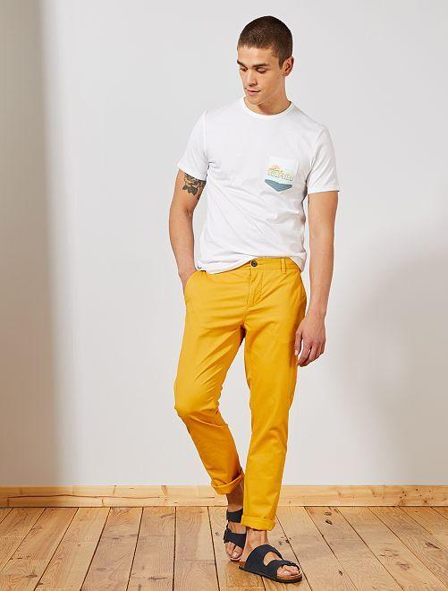 Pantalon chino slim twill stretch                                                                                                                                                                                                                                                                                                                                                                             jaune Homme