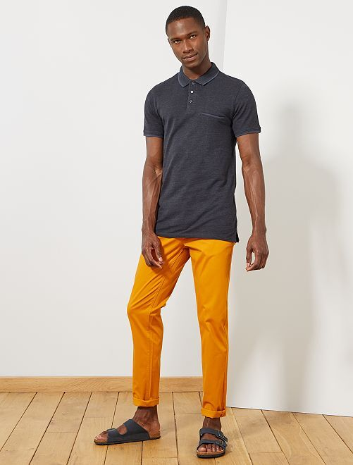 Pantalon chino slim twill stretch                                                                                                                                                                                                                                                                                                                                                                                         jaune Homme