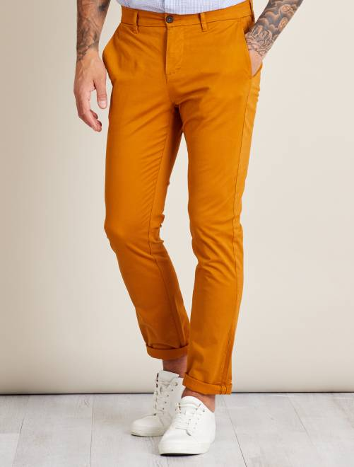 Pantalon chino slim twill stretch Homme - jaune moutarde - Kiabi ... 2d3823a82eb