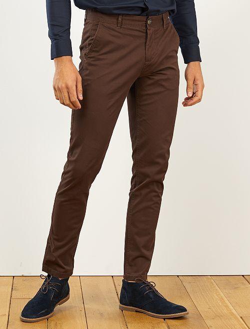 Pantalon chino slim twill stretch                                                                                                                                                                                                                                                                                                                                                                                                                 marron café