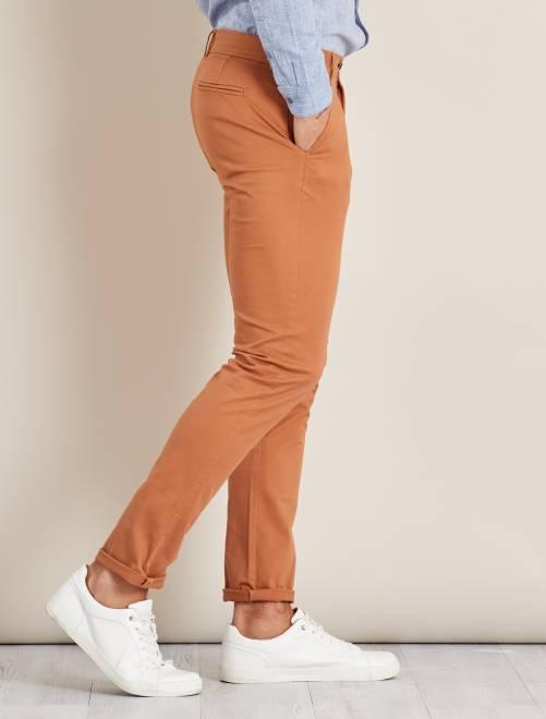 pantalon chino slim twill stretch homme jaune moutarde kiabi 8 50. Black Bedroom Furniture Sets. Home Design Ideas