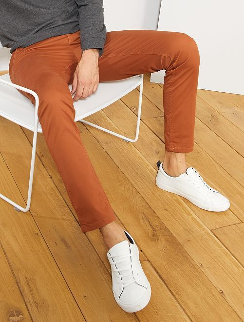 Pantalon chino slim twill stretch                                                                                                                                                                                                                                                                                                                                                                                                     marron Homme