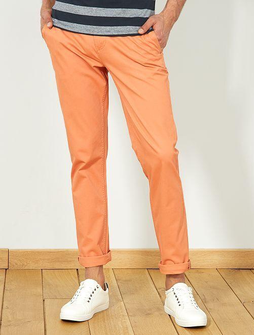 Pantalon chino slim twill stretch                                                                                                                                                                                                                                                                                                                                                                             orange Homme