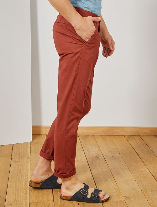 Pantalon chino slim twill stretch                                                                                                                                                                                                                                                                                                                                                                                                                 rouge brique
