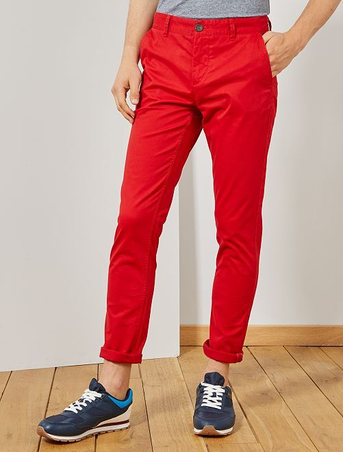 Pantalon chino slim twill stretch                                                                                                                                                                                                                                                                                                                                                                             rouge Homme