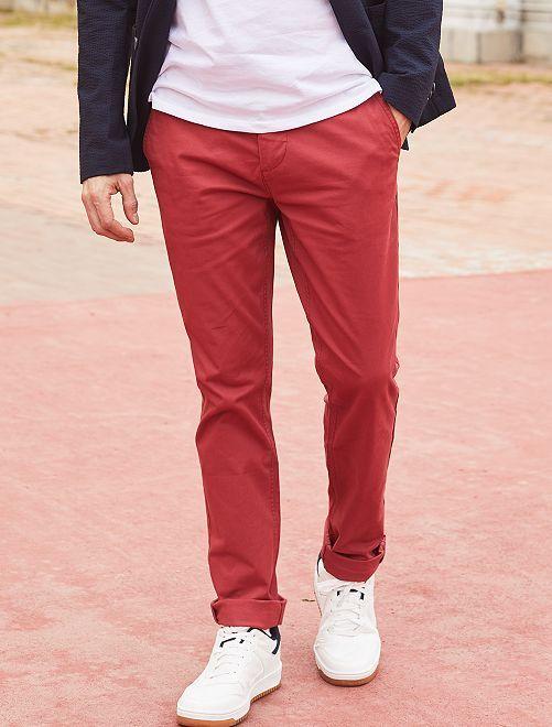 Pantalon chino slim twill stretch                                                                                                                                                                                                     rouge pâle Homme