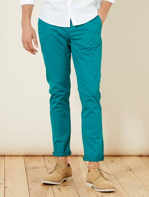 Pantalon chino slim twill stretch                                                                                                                                                                                                                                                                                                                                                                                                                 vert bleu