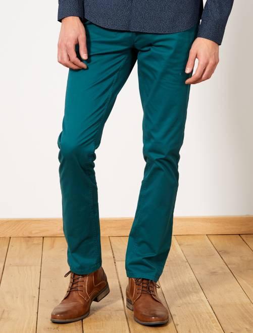 Pantalon chino slim twill stretch                                                                                                                                                                                                                                                                                                                 vert Homme