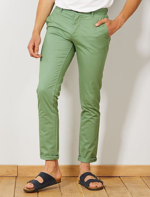 Pantalon chino slim twill stretch                                                                                                                                                                                                                                                                                                                                                                                                     vert olive Homme