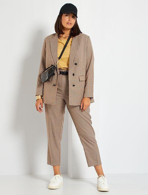 Pantalon cigarette avec ceinture                             beige/marron