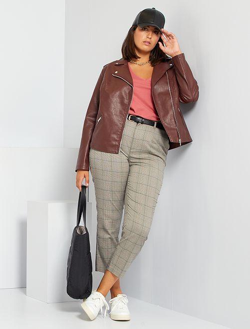 Pantalon cigarette avec ceinture                             marron/carreaux