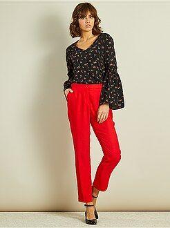 Pantalon rouge - Pantalon cigarette fluide petits volants