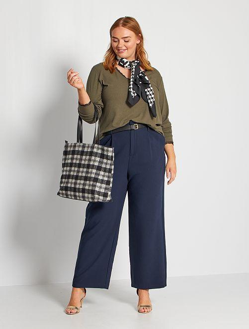 Pantalon city avec ceinture                                         bleu marine