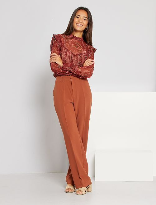 Pantalon city coupe droite                                         marron