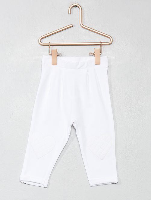 Pantalon cœur genoux                                                                 blanc Bébé fille