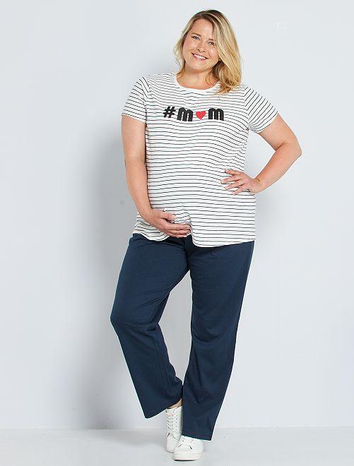 Pantalon confort de maternité éco-conçu                                         bleu marine