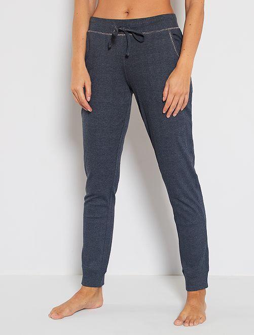 Pantalon côtelé en jersey                             bleu marine