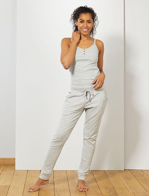 Pantalon côtelé en jersey                                         gris clair