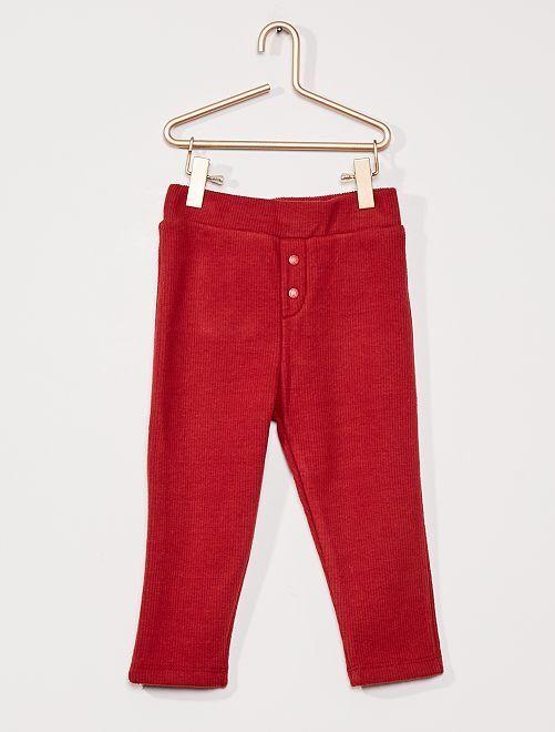 Pantalon côtelé fourré                                                     bordeaux