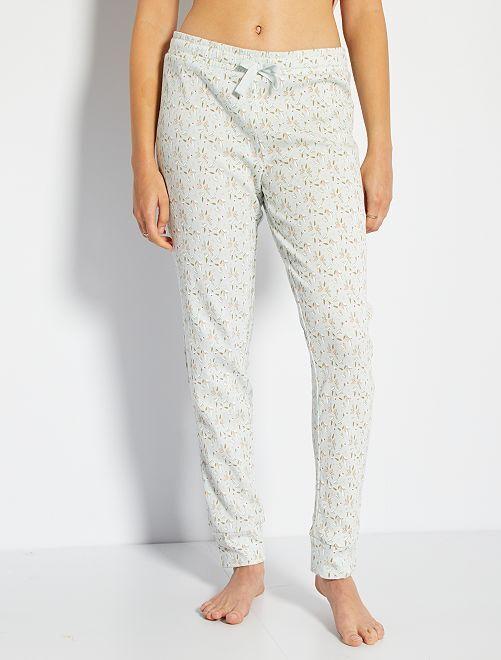 Pantalon côtelé imprimé                                                                 bleu clair