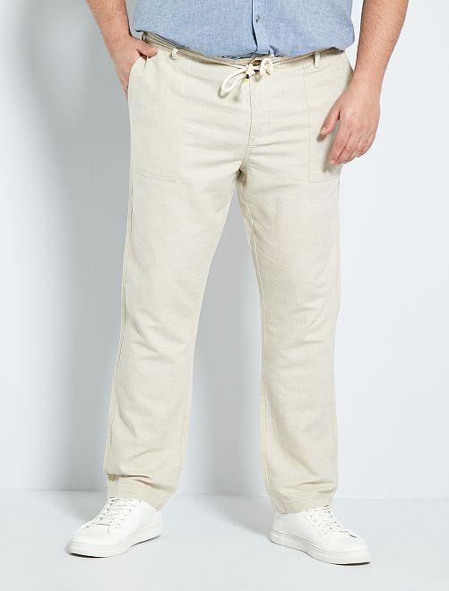 Pantalon coton et lin                                         beige